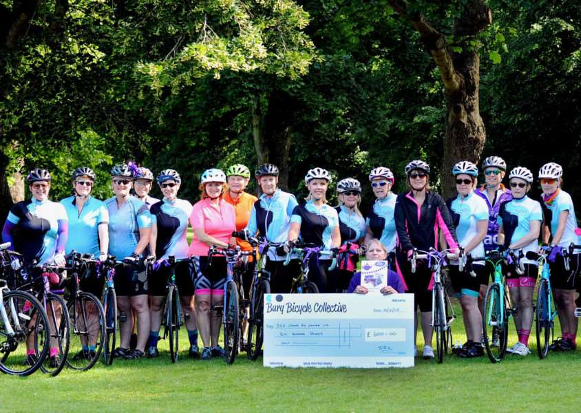 Bury Bicycle Collective launches the Purple Tea Party Campaign with a purple ribbon cycle ride from Nowton Park (photo: Suzanne Abbott)