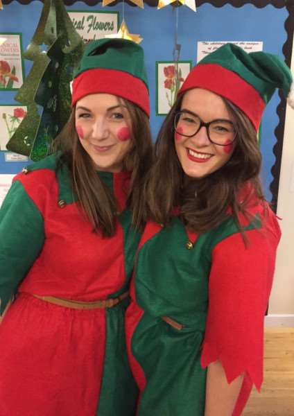 Parents, Barclays Bank workers and school staff, including elves Emily Sloman and Emily Edison, all joined in the festive fun of the fayre'' ANL-150912-171641001