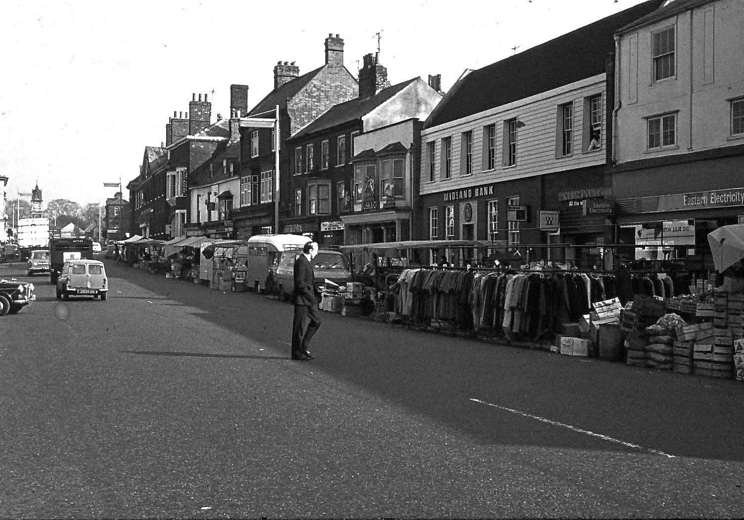 The market in Newmarket High Street in 1969. Picture: Pete Norman Collection