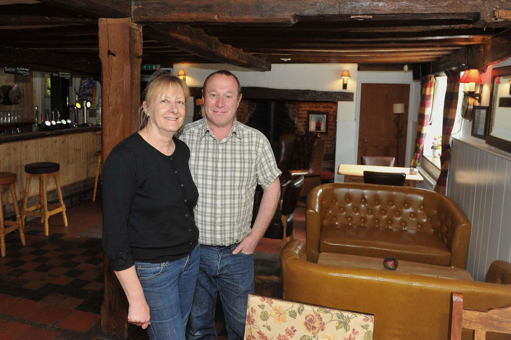 Sue and Chris Smith, the previous owners of The Three Ways pub in Cowlinge, pictured in 2015