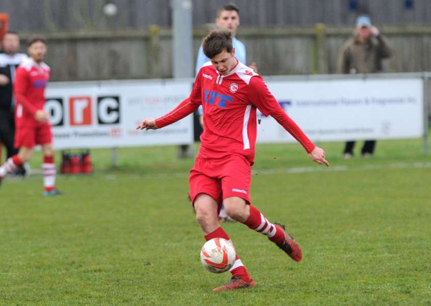 DOUBLE FIGURES: Luke Haines netted his 10th goal of the season for Haverhill Rovers during Saturday's 2-1 defeat at Felixstowe