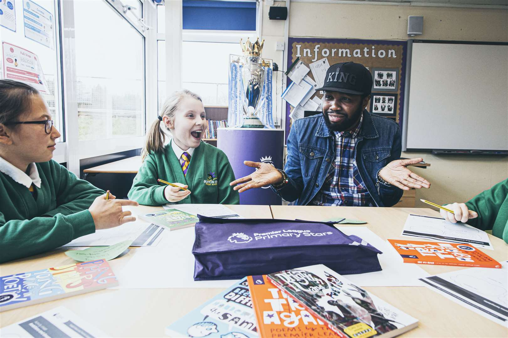Karl Nova leading a poetry workshop with Key Stage 2 pupils at Burton End Primary Academy. Contributed picture