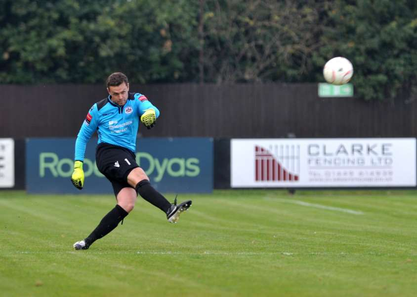 UNLIKELY HERO: Needham Market goalkeeper Danny Gay scored in the Marketmen's 2-2 draw at Canvey Island last night