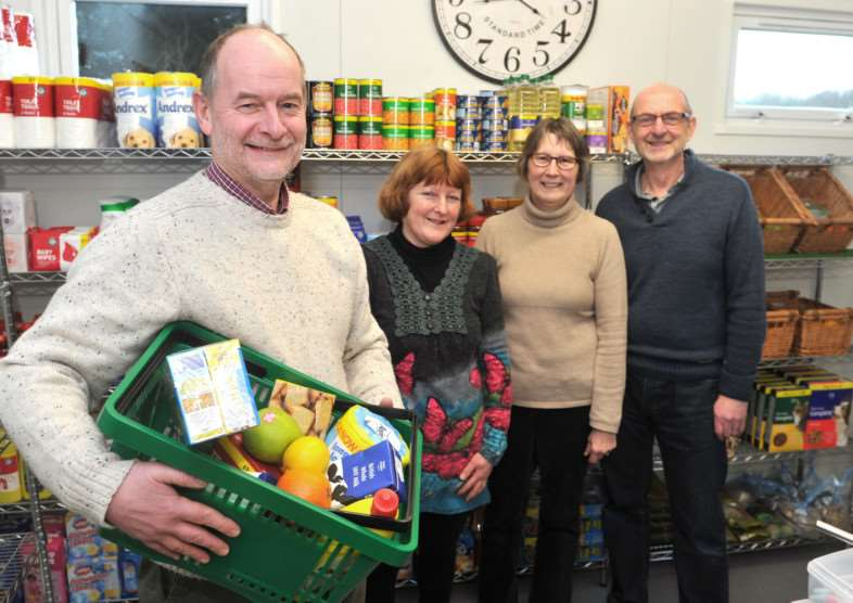 New Gosfield community shop paid for and run by the community.''Pictured: Volunteers: Max Ford, Julie Ford, Sue Thurston and Ian Thurston ANL-150302-224314009
