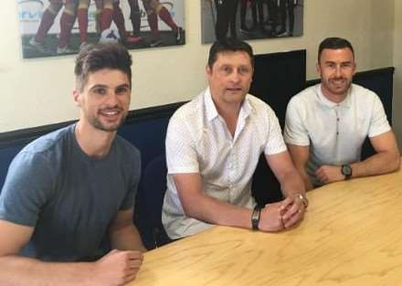 DOUBLE TROUBLE: Needham Market manager Richard Wilkins (middle) is 'delighted' to welcome both Gareth Heath (far right) and Jamie Griffiths (far left)