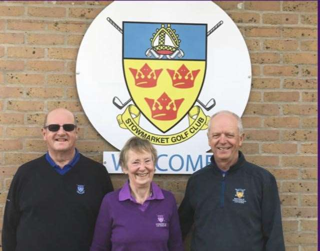 Stowmarket Captains at their Charity Day - Ian Hay, Joan Hunter & Martin Anderson - photo Martin Anderson (14245531)