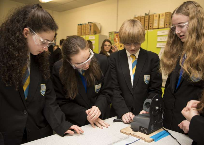 Stour Valley Community School, Cavendish Rd, Clare, Sudbury'School STEM fair (science fair)'Students work in the ballistics lab'Picture Mark Westley