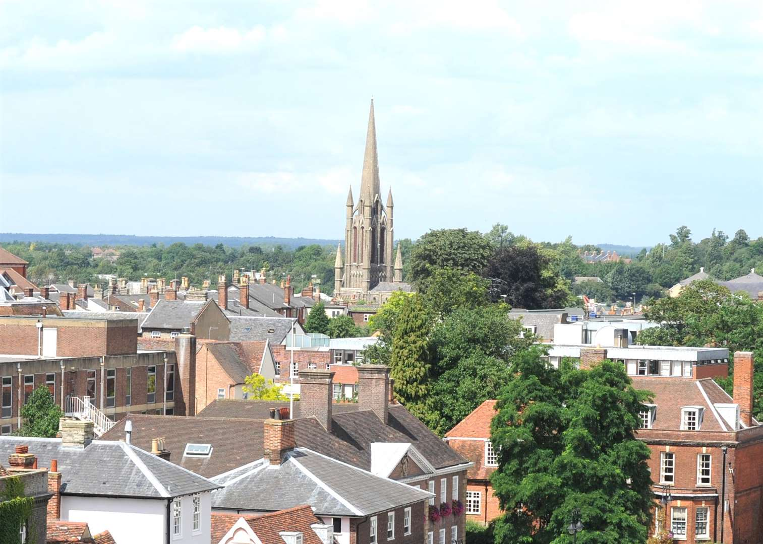 St John's Church's spire seen over Bury's rooftops