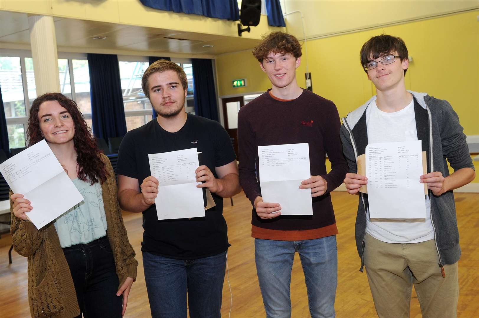 A Level Results 2018 - County Upper..Pictured: Alice Walker, Ben Hudson, Harry Shingleton and Daniel Foulsham ...PICTURE: Mecha Morton... .. (3631871)