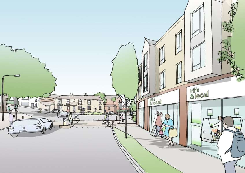 The Bury St Edmunds town centre masterplan's vision of Tayfen Road