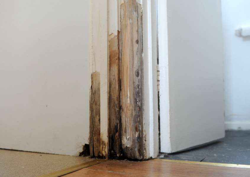 Great Cornard resident Martin West is angry at Flagship Housing because a leak in his home has gone unfixed for a year, and has led to damp, mould, rotten floorboards and damage around the house.'''PICTURE: Mecha Morton