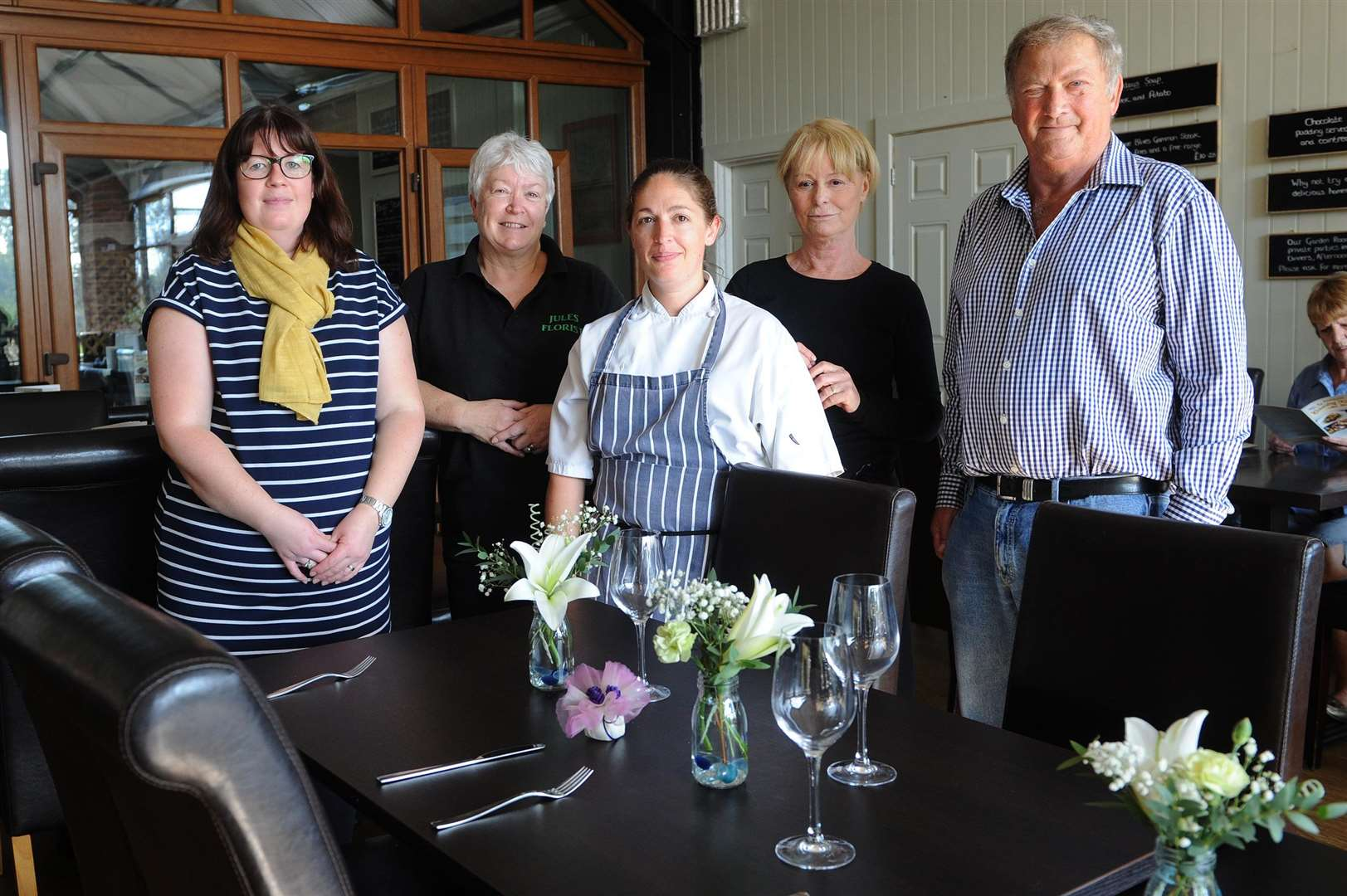 Assington Country Kitchen at The Barn has been extended and is now offering venues for weddings and parties...Pictured: Laura Phillips (Florist), Julie Ivory (Florist), Annie Reidy (Head Chef and Co-Owner), Ellen Gordon (Waitress) and Malcolm Long (Co-Owner)....PICTURE: Mecha Morton... .. (4821415)