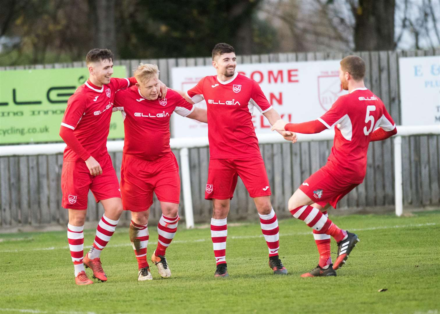 CELEBRATION TIME: Steve Holder celebrates with his new team-mates