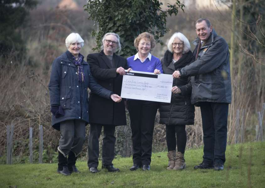 Stoke by Nayland Hotel, Golf and Spa giving cheque for ?2,000 to the Eden Rose Coppice. a charity that offers a palliative care retreat as well as providing hands on learning opportunities for people with physical and learning disabilities. Eileen Hands 2015 ladies Captain with husband Alan, AmandaHall committee member, Gwen Broadhead treasurer and Rob Brooks founder of Eden project.'Picture Mark Westley ANL-160121-235710009