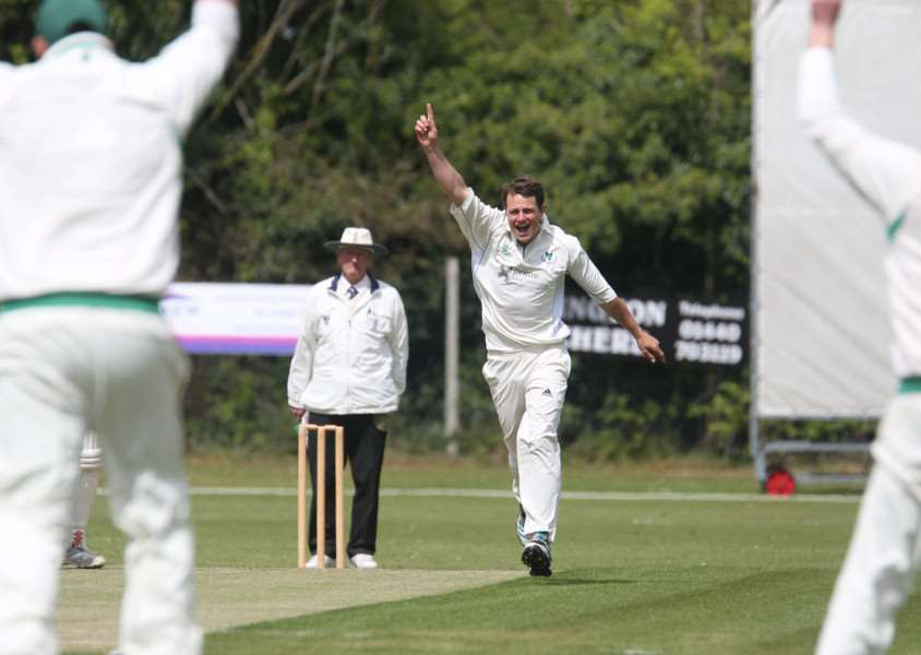 BOWLING MASTERCLASS: Will Parker (2-32) celebrates after another Haverhill wicket falls.