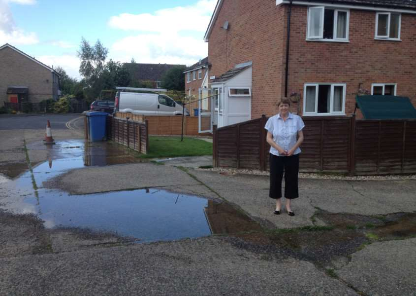 Denise Angel by the flooding in Mallard Way, Great Cornard. ANL-160713-121807001