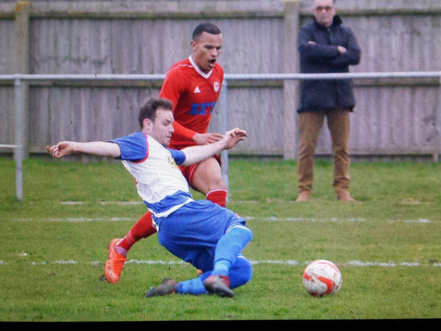 HOME DEFEAT: Jemel Fox looks to win the ball back for Haverhill Rovers against FC Clacton Picture: Tudor Morgan-Owen