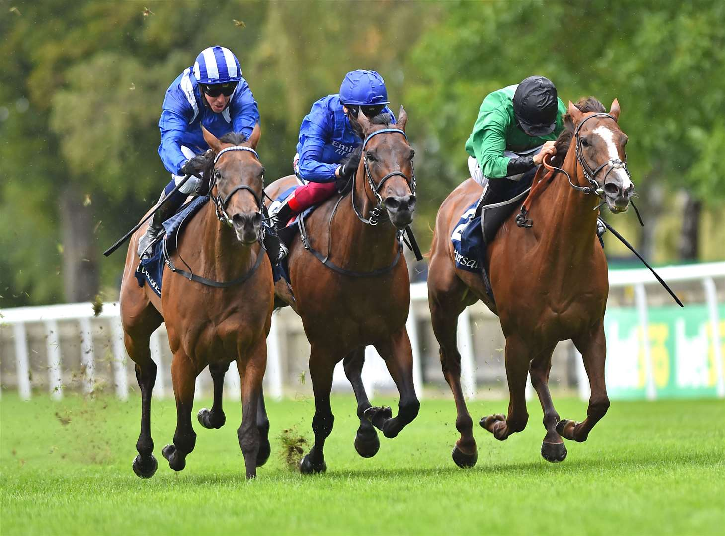 (L) Nazeef (Jim Crowley) wins The Tattersalls Flamouth Stakes from (R) Billesdon Brook (Sean Levey) and (C) Terebellum (Frankie Dettori).. (38281725)