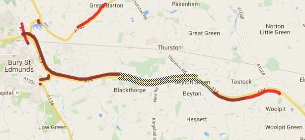 AA traffic map showing the extent of the delays this evening