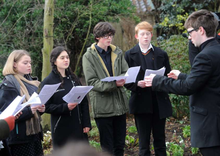 Holocaust Memorial service in the Abbey Gardens''Pictured: Locus Iste sang by King Edward VI CEVC School'''PICTURE: Mecha Morton