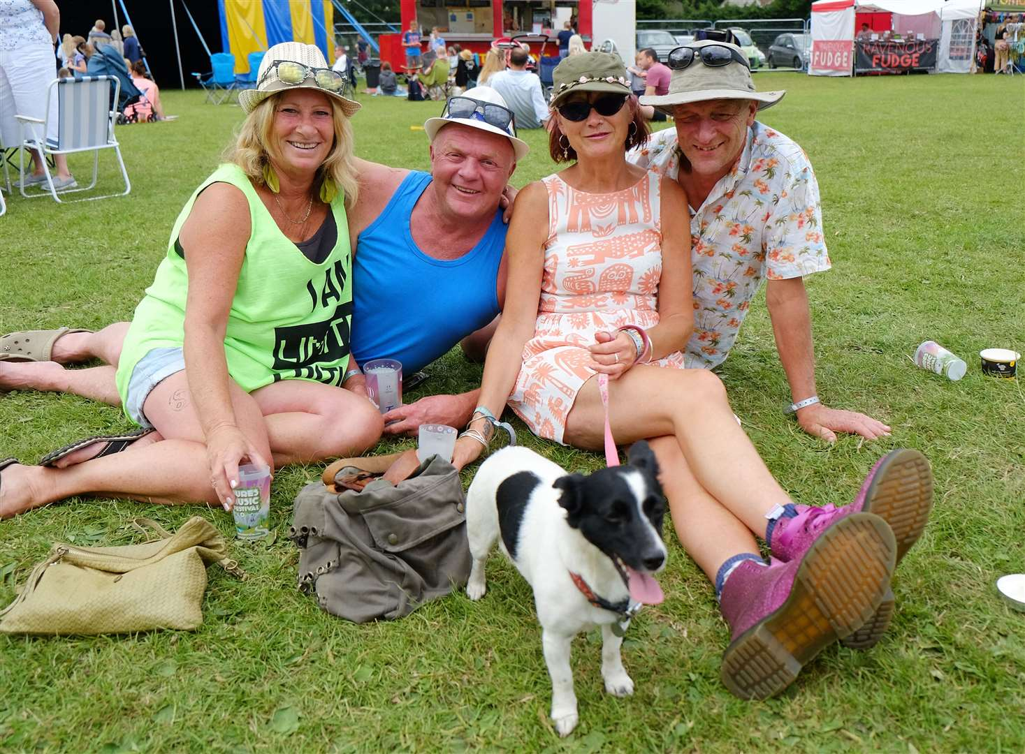 Bures Music Festival - (L-R)Julie Grimwood, Paul Grimwood, Dolly the dog, Jayne Evans and Carl Brown.Pic - Richard Marsham. (13766260)