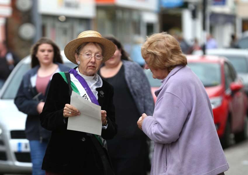Pic - Richard Marsham'Heritage Open Day in Sudbury - A Sufragette tells people about the open day. ANL-151209-201746009