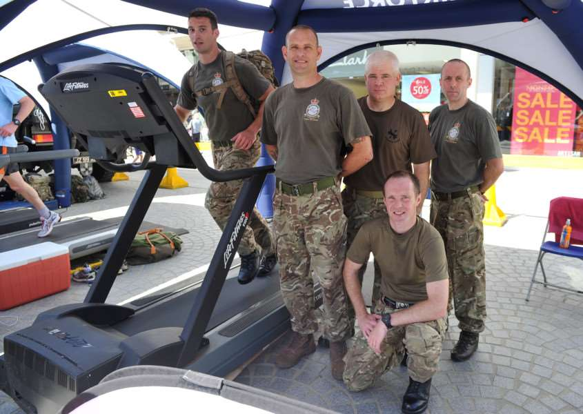 A physical and mental challenge was in store for airmen when they put themselves to the test in Bury St Edmunds town centre this weekend.''Pictured: SAC Watkins, SAC Liggett, Sergeant Goodman, SAC Cornwell and LAC Craddock ANL-150629-070708009
