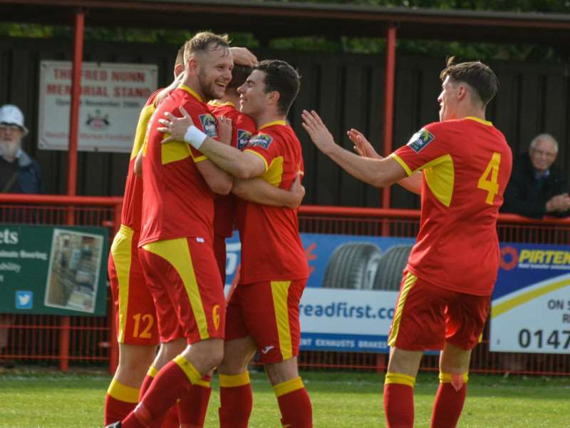 GOAL-DEN MOMENT: Needham Market players celebrate Dan Morphew's second goal on Saturday