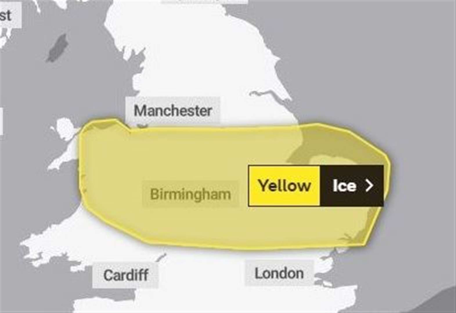 Severe weather warning for ice tomorrow morning