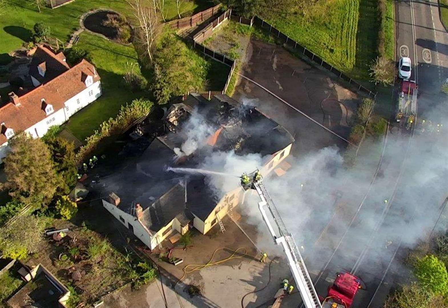 Dramatic footage of suspected arson attack in Leavenheath captured by drone