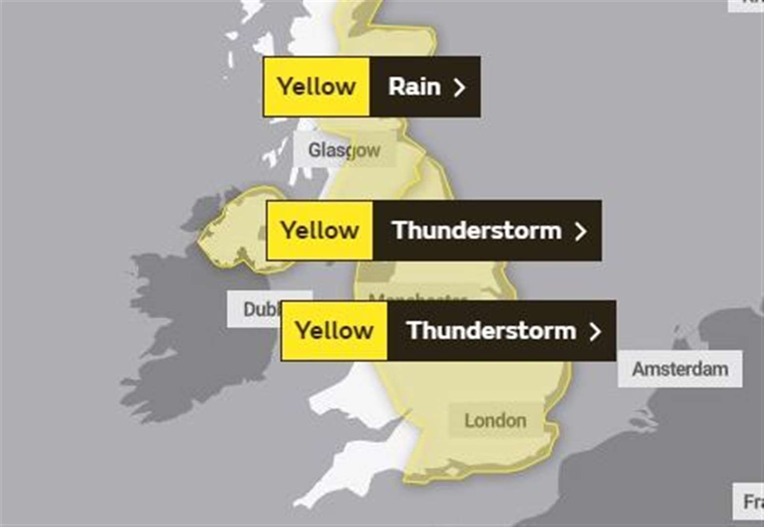 Met Office warns of thunderstorms in Sudbury and South Suffolk