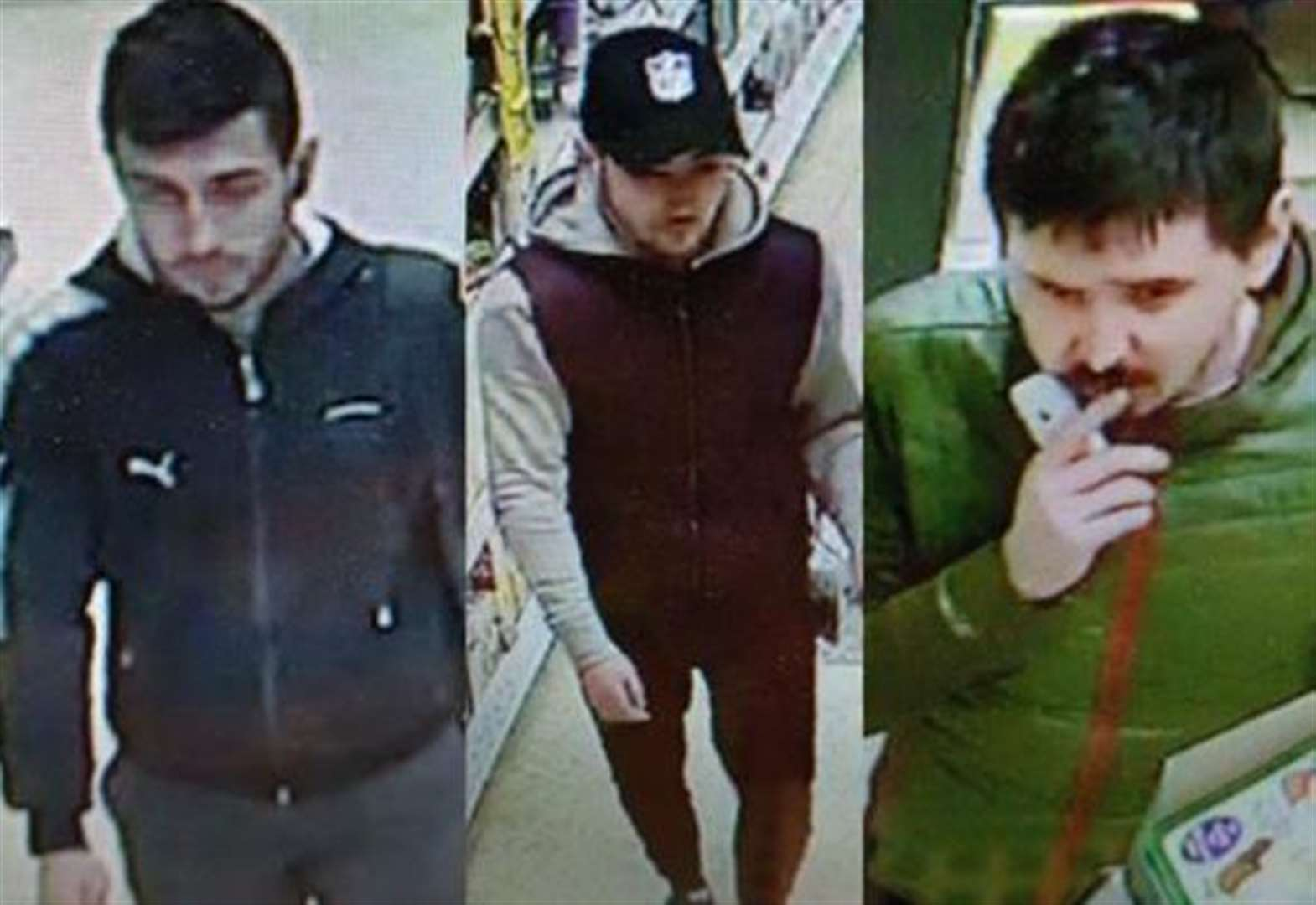 Trio wanted by police in connection with incidents at supermarket