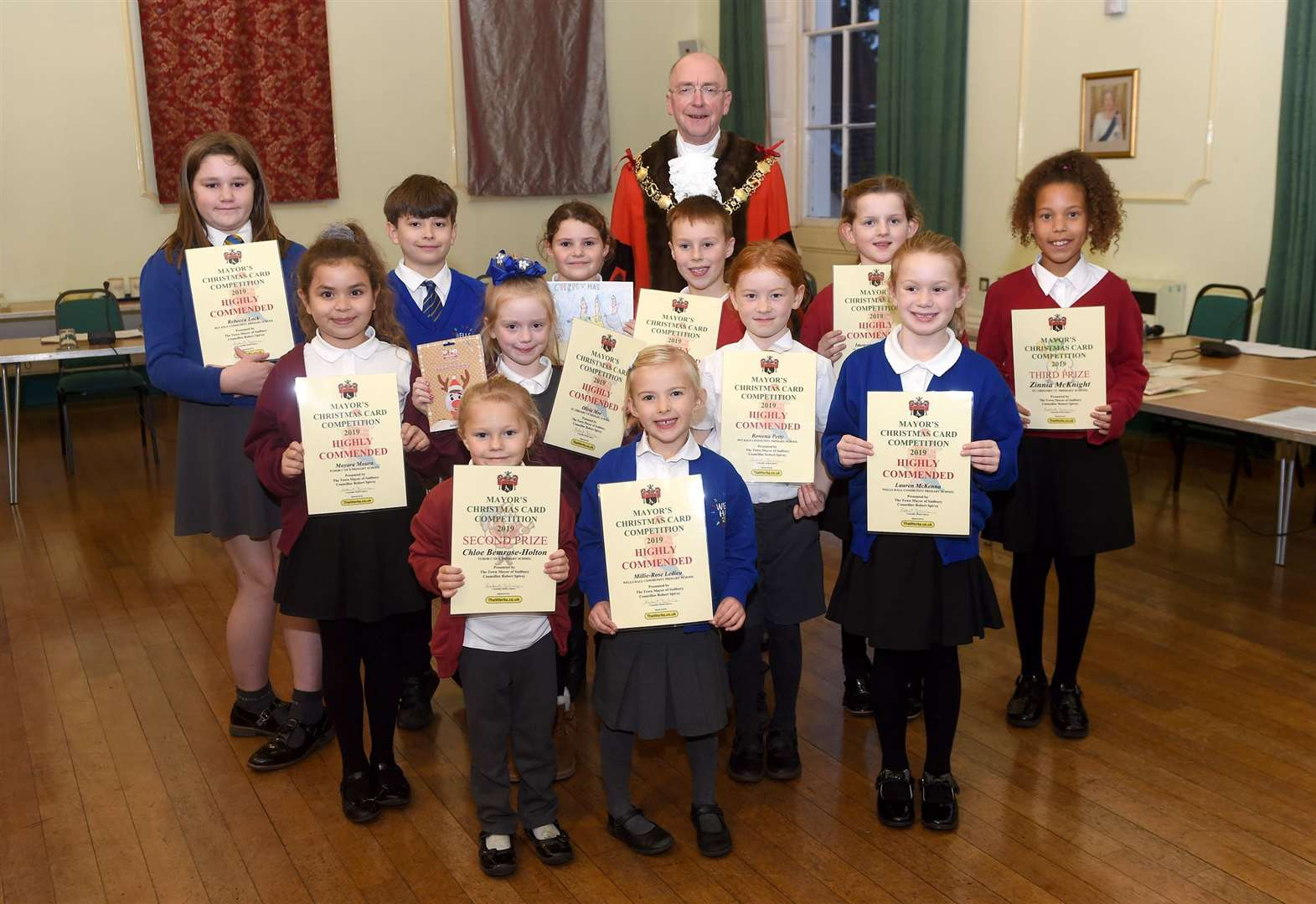 Children recognised for creativity in Sudbury mayor's Christmas card competition