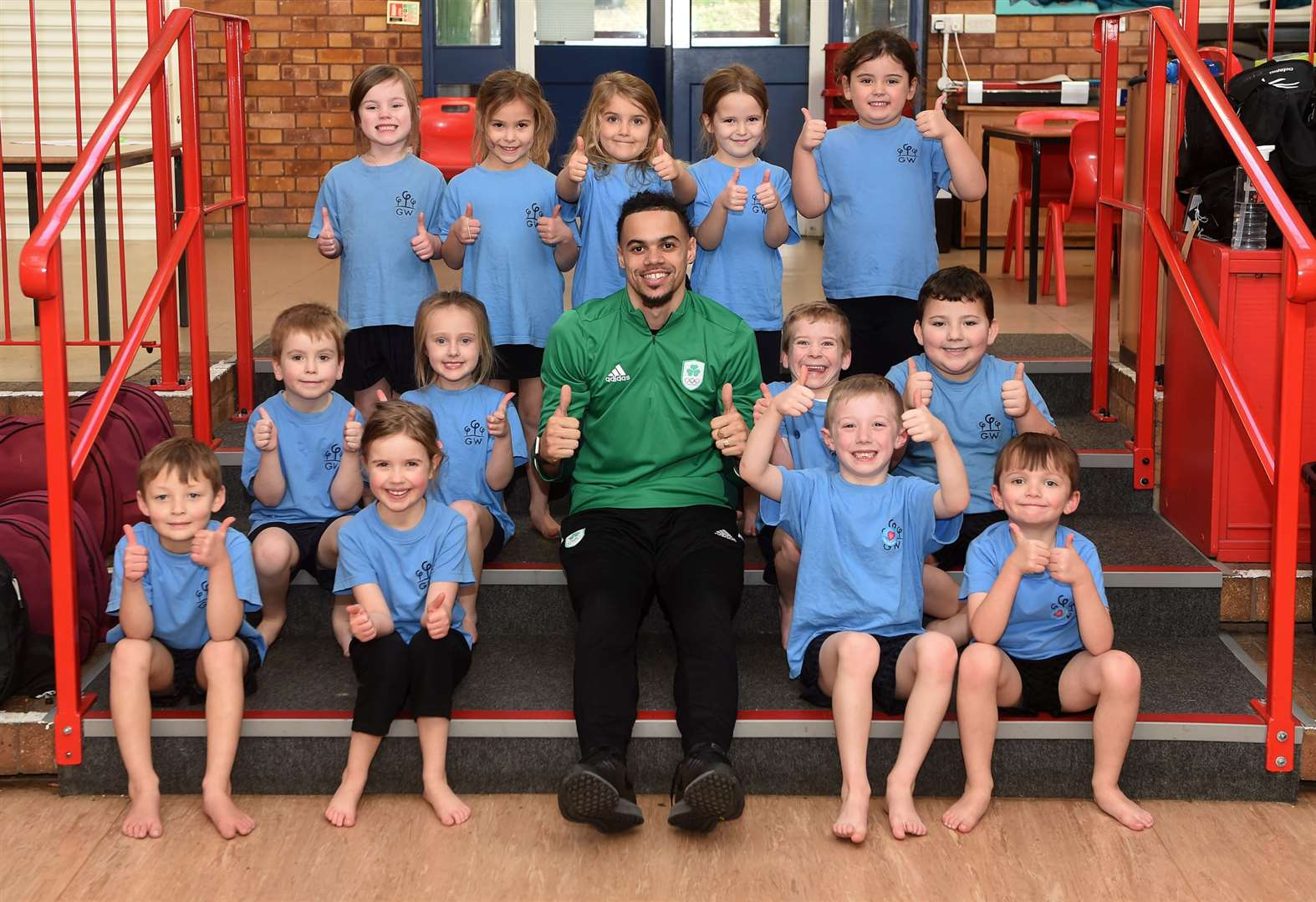 Olympic sprinter leads fitness sessions at Great Waldingfield Primary School
