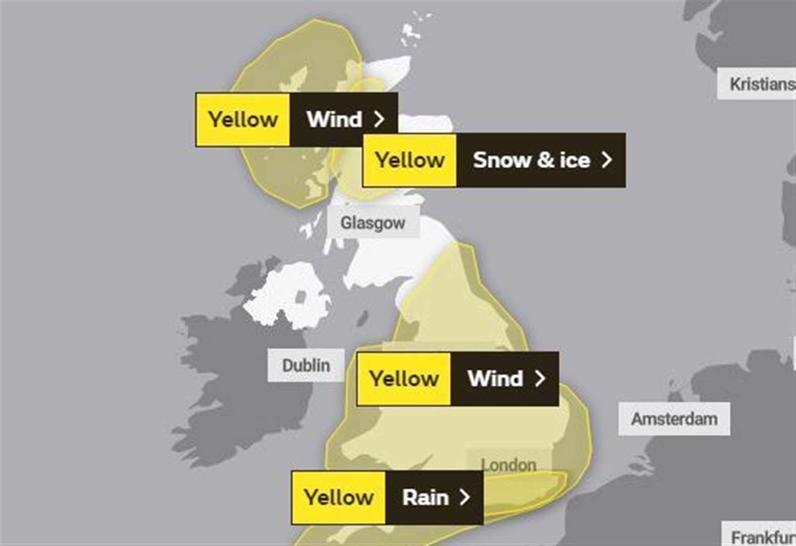 Weather warning for next two days