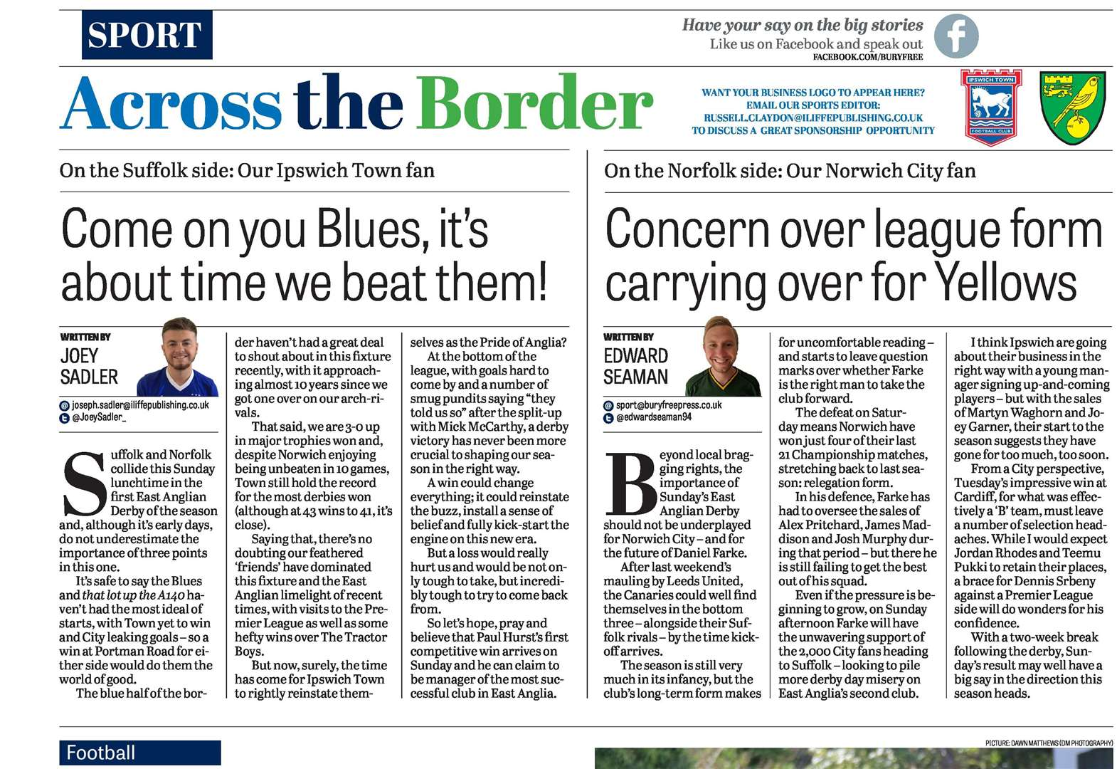 Your letters published in the Bury Free Press, Friday, September 14