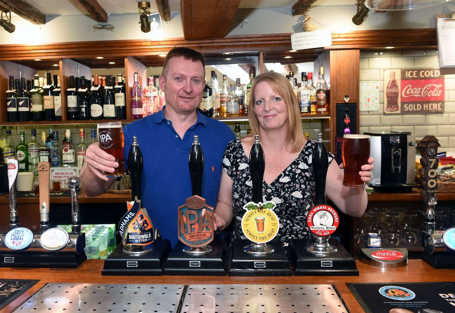 Owners of Monks Eleigh pub mark one year at the helm with CAMRA award