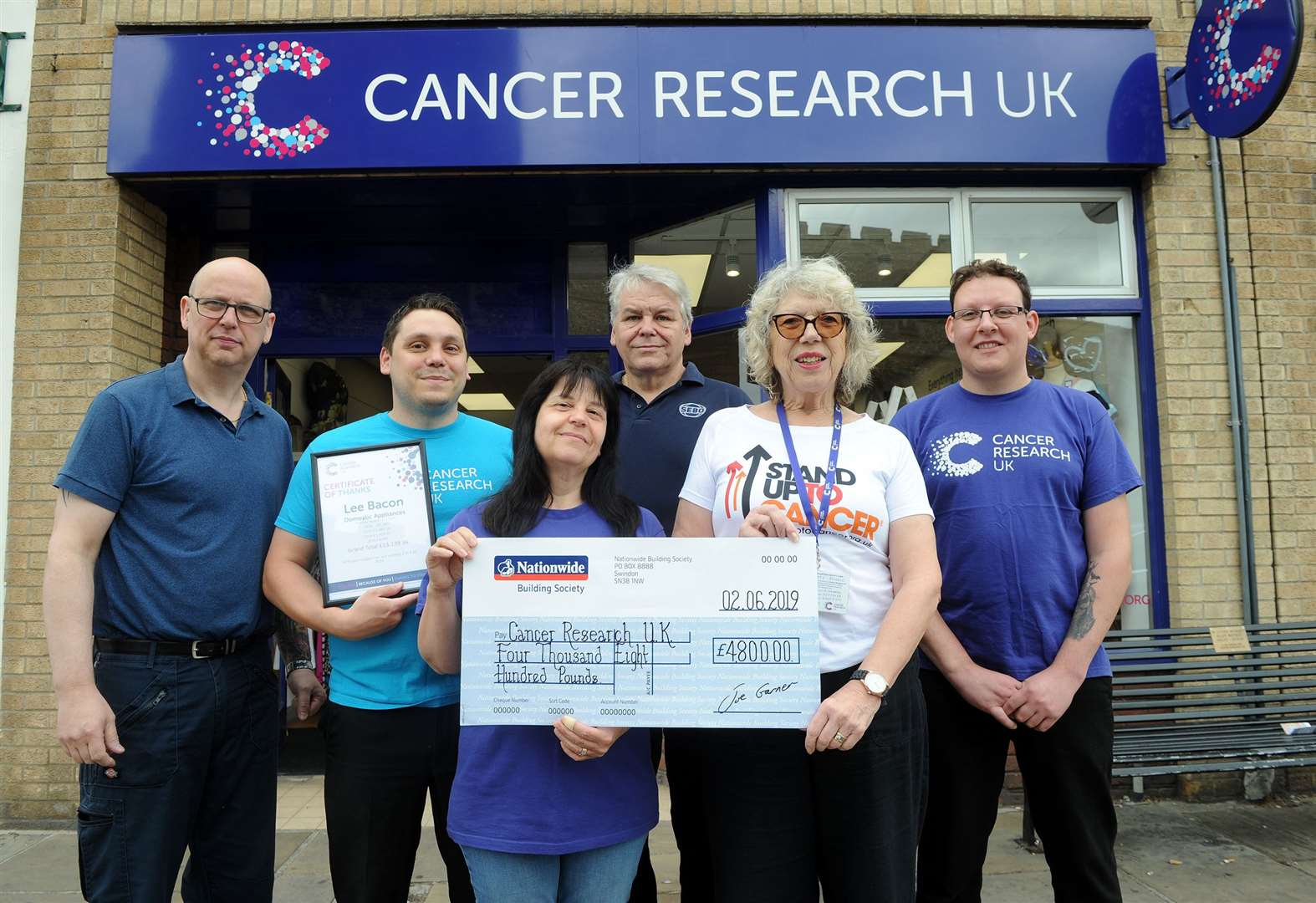 Sudbury business hands over £4,800 to cancer charity after football tournament fundraiser