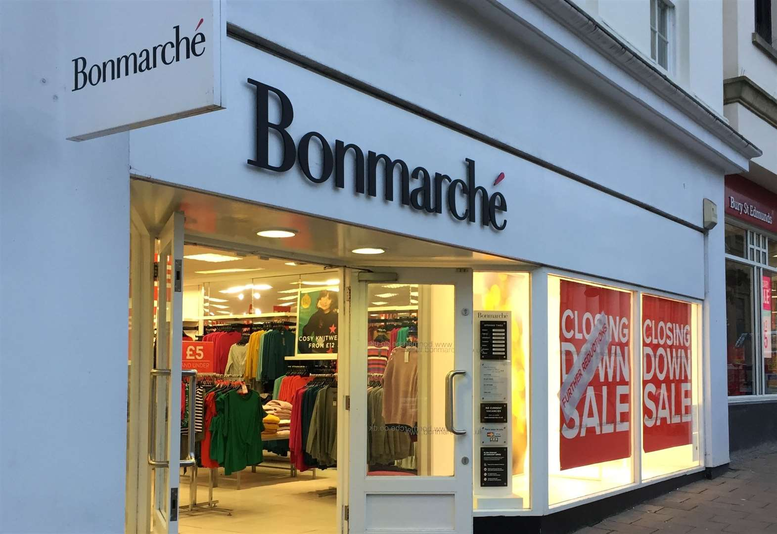Bonmarche 'under constant assessment' as closing down signs are displayed at Bury St Edmunds store