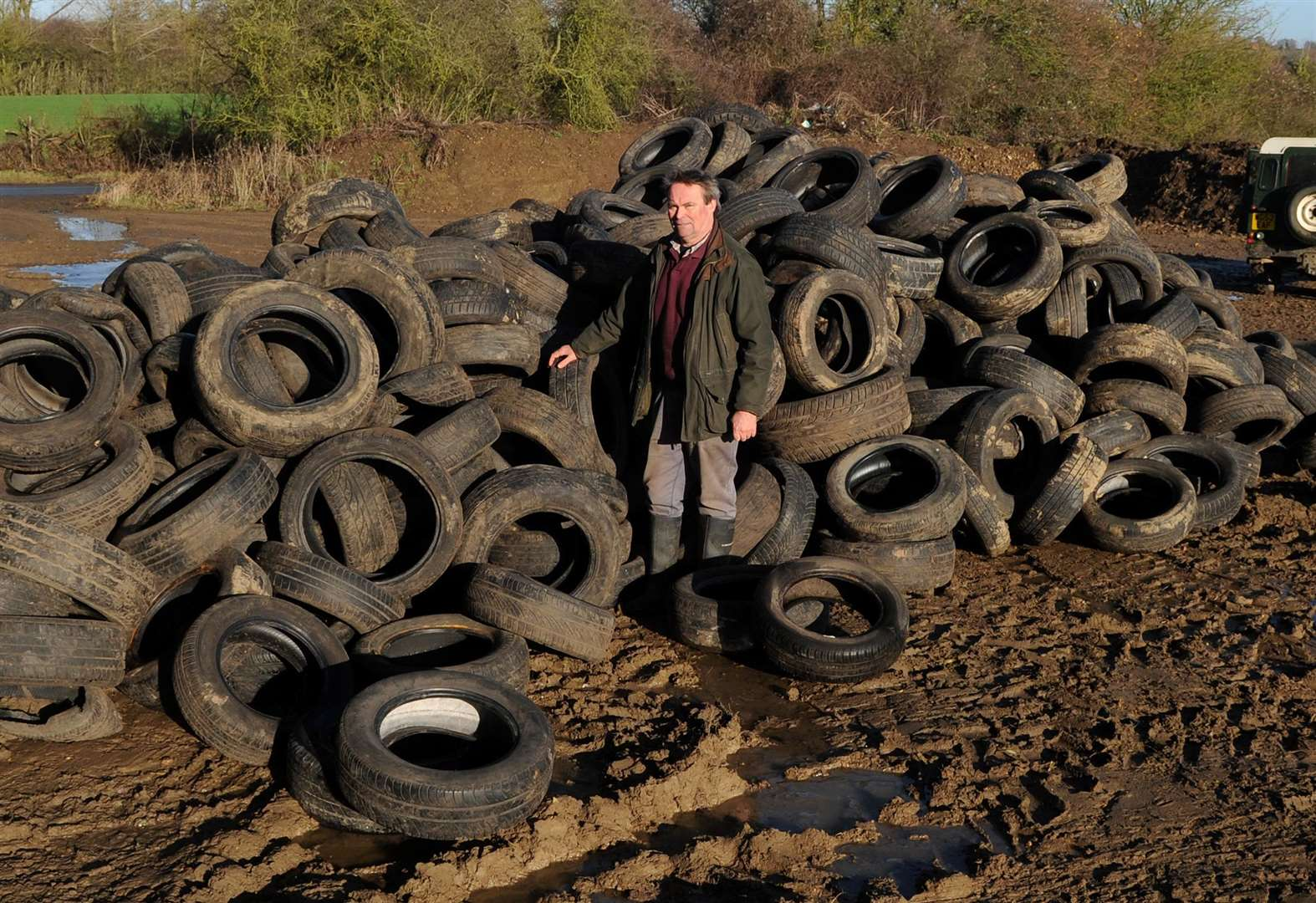 Farmer in disbelief after 500 tyres fly-tipped on land in Milden