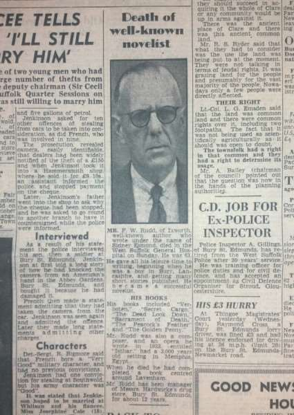 The April 1955 BFP front page obituary of Frederick Rudd, who wrote as Sidney Esmond