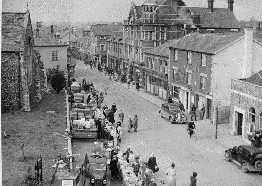 Haverhill's market as seen in the 1940s. Picture courtesy of the Haverhill & District Local History Group