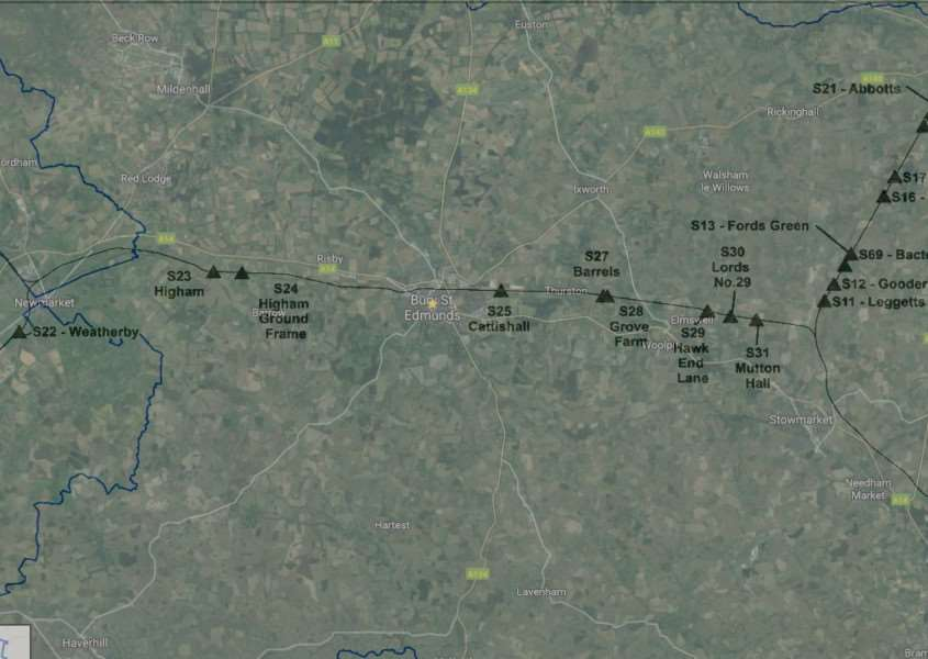 Map showing the approximate locations of the crossings Network Rail plans to close'Background picture: Google Earth