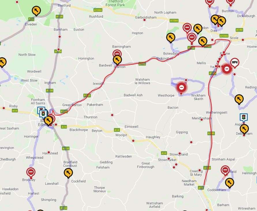The diversion route (in red) takes drivers up towards Diss before turning back to Bury St Edmunds. (15218259)
