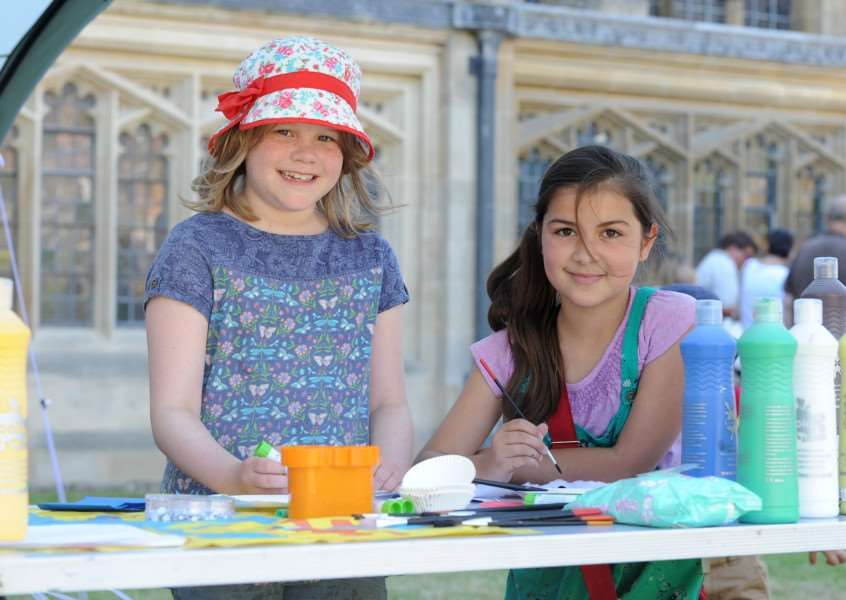 Birds of Prey and crafts at Bury Cathedral''Pictured: Phoebe Vernon (10) and Anika Cox (10) at the craft table ANL-160823-152253009
