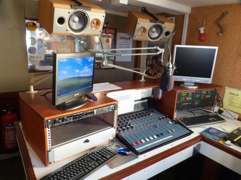 This studio on Radio Caroline's ship Ross Revenge broadcast to Holland in the 1980s but is now used for digital broadcasts over 1368Khz as Radio Caroline North
