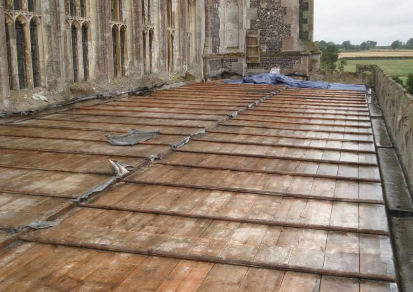 Lavenham church after the lead theft, picture courtesy of church warden Graham Pattrick