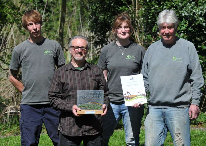 "The Eden-Rose Coppice Trust won ""Greenest Community Project"" in the County of Suffolk award earlier in the year. Pictured: Sam Chamberlin, Alan Simmonds, Rob Brooks and Graham Moore ANL-150422-091504009"