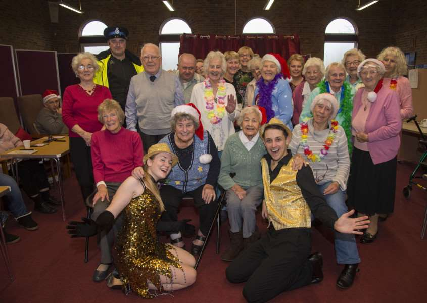 MILDENHALL: 'The Lunch Bunch which is a lunch club open to anyone who needs company welcomed Tickled Pink Productions for a Winter Wonderland performance.' Steve Banks and Lucy Ellis-Brown with Lunch Bunch regulars 'Picture Mark Westley