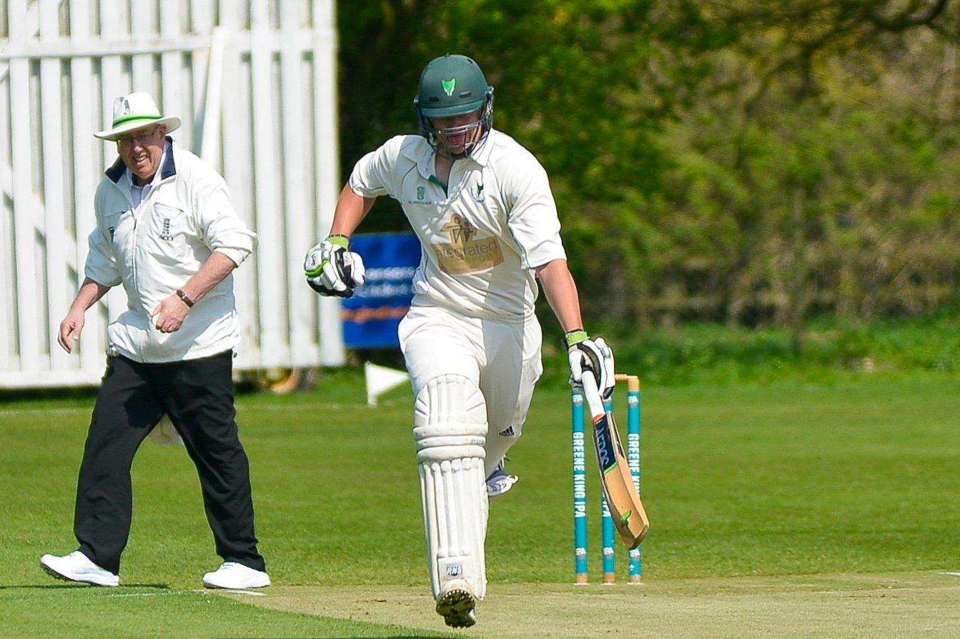 Woolpit v Coggeshall Cricket. Woolpit Captain Will Parker making a run.. (2655380)
